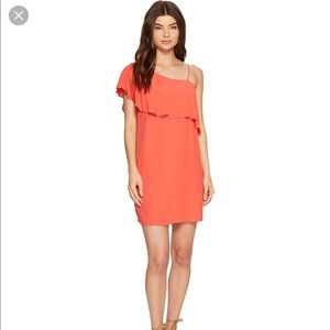 1 State 1 Shoulder poppy color dress
